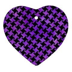 Houndstooth2 Black Marble & Purple Watercolor Ornament (heart) by trendistuff