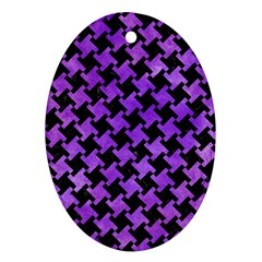 Houndstooth2 Black Marble & Purple Watercolor Oval Ornament (two Sides) by trendistuff
