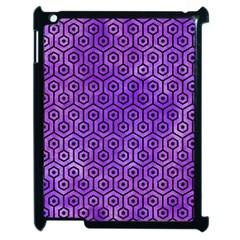 Hexagon1 Black Marble & Purple Watercolor Apple Ipad 2 Case (black) by trendistuff
