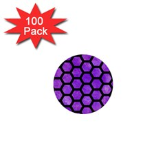 Hexagon2 Black Marble & Purple Watercolor 1  Mini Buttons (100 Pack)  by trendistuff