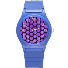 Hexagon2 Black Marble & Purple Watercolor Round Plastic Sport Watch (s) by trendistuff