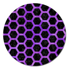 Hexagon2 Black Marble & Purple Watercolor (r) Magnet 5  (round) by trendistuff