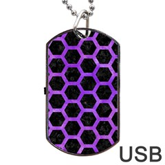 Hexagon2 Black Marble & Purple Watercolor (r) Dog Tag Usb Flash (one Side) by trendistuff