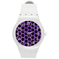 Hexagon2 Black Marble & Purple Watercolor (r) Round Plastic Sport Watch (m) by trendistuff