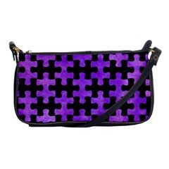 Puzzle1 Black Marble & Purple Watercolor Shoulder Clutch Bags by trendistuff