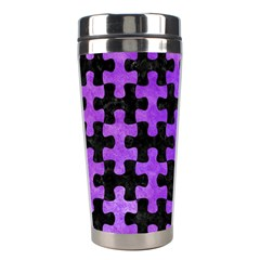 Puzzle1 Black Marble & Purple Watercolor Stainless Steel Travel Tumblers by trendistuff