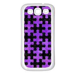 Puzzle1 Black Marble & Purple Watercolor Samsung Galaxy S3 Back Case (white) by trendistuff