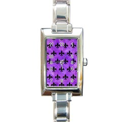 Royal1 Black Marble & Purple Watercolor (r) Rectangle Italian Charm Watch by trendistuff