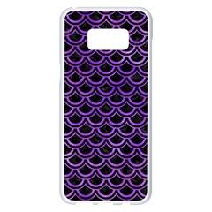 Scales2 Black Marble & Purple Watercolor (r) Samsung Galaxy S8 Plus White Seamless Case by trendistuff