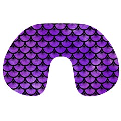 Scales3 Black Marble & Purple Watercolor Travel Neck Pillows by trendistuff