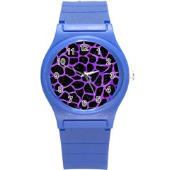Skin1 Black Marble & Purple Watercolor Round Plastic Sport Watch (s) by trendistuff