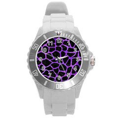 Skin1 Black Marble & Purple Watercolor Round Plastic Sport Watch (l) by trendistuff
