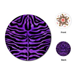 Skin2 Black Marble & Purple Watercolor (r) Playing Cards (round)  by trendistuff