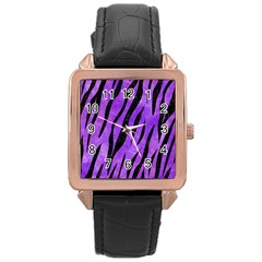 Skin3 Black Marble & Purple Watercolor Rose Gold Leather Watch  by trendistuff
