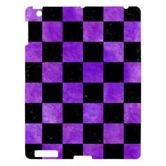 Square1 Black Marble & Purple Watercolor Apple Ipad 3/4 Hardshell Case by trendistuff