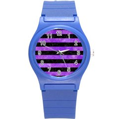 Stripes2 Black Marble & Purple Watercolor Round Plastic Sport Watch (s) by trendistuff