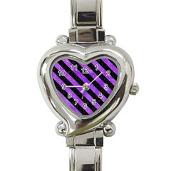 Stripes3 Black Marble & Purple Watercolor Heart Italian Charm Watch by trendistuff