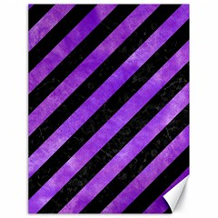 Stripes3 Black Marble & Purple Watercolor (r) Canvas 18  X 24   by trendistuff