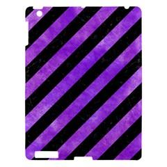 Stripes3 Black Marble & Purple Watercolor (r) Apple Ipad 3/4 Hardshell Case by trendistuff