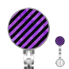 Stripes3 Black Marble & Purple Watercolor (r) Stainless Steel Nurses Watch by trendistuff