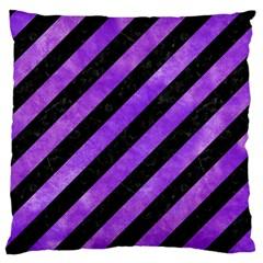 Stripes3 Black Marble & Purple Watercolor (r) Standard Flano Cushion Case (one Side) by trendistuff