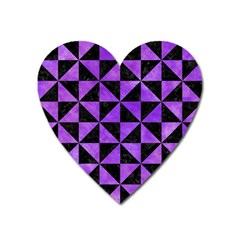 Triangle1 Black Marble & Purple Watercolor Heart Magnet by trendistuff