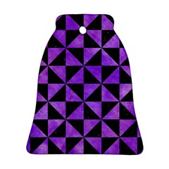 Triangle1 Black Marble & Purple Watercolor Bell Ornament (two Sides) by trendistuff