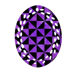 Triangle1 Black Marble & Purple Watercolor Ornament (oval Filigree) by trendistuff
