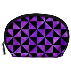 Triangle1 Black Marble & Purple Watercolor Accessory Pouches (large)  by trendistuff