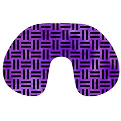 Woven1 Black Marble & Purple Watercolor Travel Neck Pillows by trendistuff