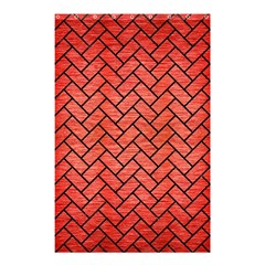 Brick2 Black Marble & Red Brushed Metal Shower Curtain 48  X 72  (small)  by trendistuff