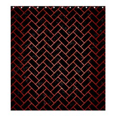 Brick2 Black Marble & Red Brushed Metal (r) Shower Curtain 66  X 72  (large)  by trendistuff