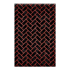 Brick2 Black Marble & Red Brushed Metal (r) Shower Curtain 48  X 72  (small)  by trendistuff