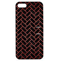 Brick2 Black Marble & Red Brushed Metal (r) Apple Iphone 5 Hardshell Case With Stand by trendistuff