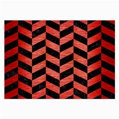 Chevron1 Black Marble & Red Brushed Metal Large Glasses Cloth (2 Side) by trendistuff