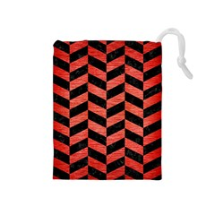 Chevron1 Black Marble & Red Brushed Metal Drawstring Pouches (medium)  by trendistuff