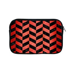 Chevron1 Black Marble & Red Brushed Metal Apple Macbook Pro 13  Zipper Case by trendistuff
