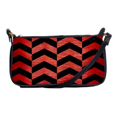 Chevron2 Black Marble & Red Brushed Metal Shoulder Clutch Bags by trendistuff