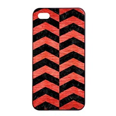 Chevron2 Black Marble & Red Brushed Metal Apple Iphone 4/4s Seamless Case (black) by trendistuff