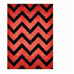 Chevron9 Black Marble & Red Brushed Metal Large Garden Flag (two Sides) by trendistuff