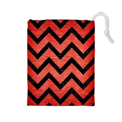 Chevron9 Black Marble & Red Brushed Metal Drawstring Pouches (large)  by trendistuff