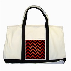 Chevron9 Black Marble & Red Brushed Metal (r) Two Tone Tote Bag by trendistuff