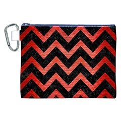 Chevron9 Black Marble & Red Brushed Metal (r) Canvas Cosmetic Bag (xxl) by trendistuff
