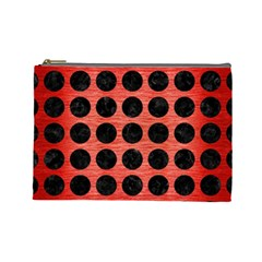 Circles1 Black Marble & Red Brushed Metal Cosmetic Bag (large)  by trendistuff