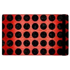 Circles1 Black Marble & Red Brushed Metal Apple Ipad 2 Flip Case by trendistuff