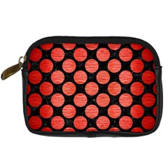 Circles2 Black Marble & Red Brushed Metal (r) Digital Camera Cases by trendistuff