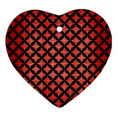 Circles3 Black Marble & Red Brushed Metal Heart Ornament (two Sides) by trendistuff