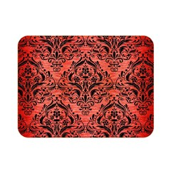 Damask1 Black Marble & Red Brushed Metal Double Sided Flano Blanket (mini)  by trendistuff