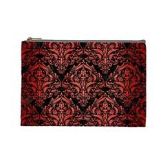 Damask1 Black Marble & Red Brushed Metal (r) Cosmetic Bag (large)  by trendistuff