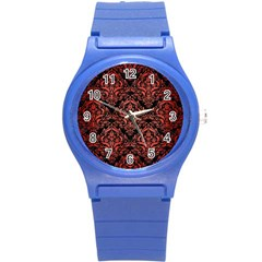 Damask1 Black Marble & Red Brushed Metal (r) Round Plastic Sport Watch (s) by trendistuff